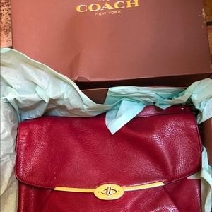 NIB COACH SCARLET RED LEATHER HANDBAG